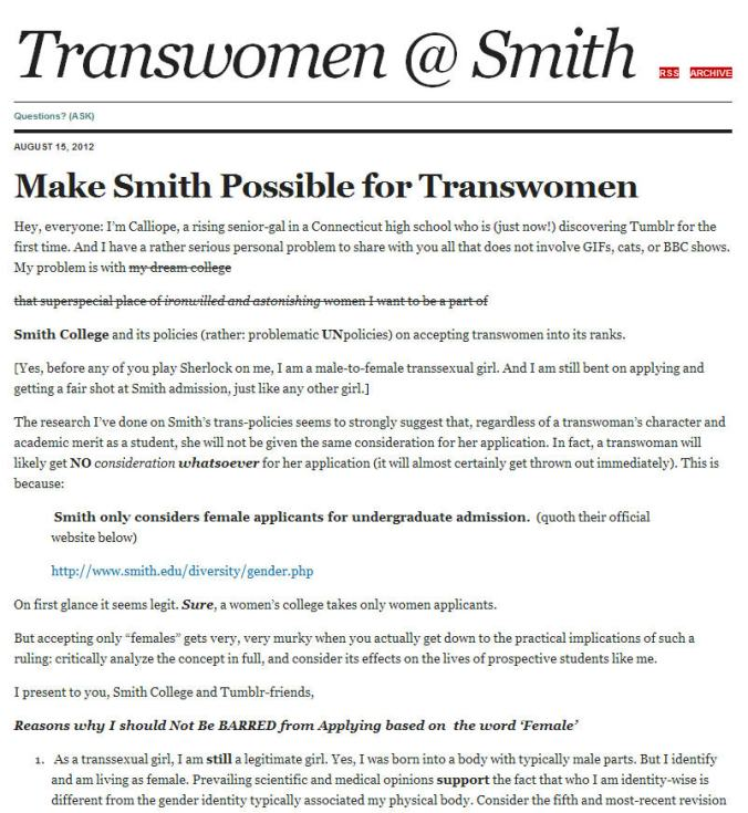 Smith College to be confronted by a trans test case